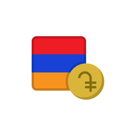 Armenia money and flag flat icon, vector sign, Dram currency with flag colorful pictogram isolated on white. AMD money symbol, logo illustration. Flat style design
