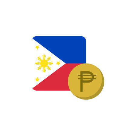 Philippines money and flag flat icon, vector sign, Peso currency with flag colorful pictogram isolated on white. PHP money symbol, logo illustration. Flat style design
