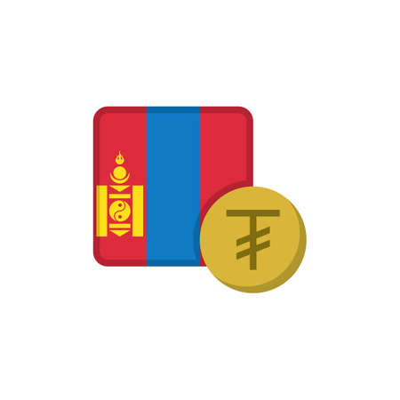 Mongolia money and flag flat icon, vector sign, Tugrik currency with flag colorful pictogram isolated on white. MNT money symbol, logo illustration. Flat style design
