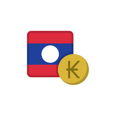 Laos money and flag flat icon, vector sign, Kip currency with flag colorful pictogram isolated on white. LAK money symbol, logo illustration. Flat style design