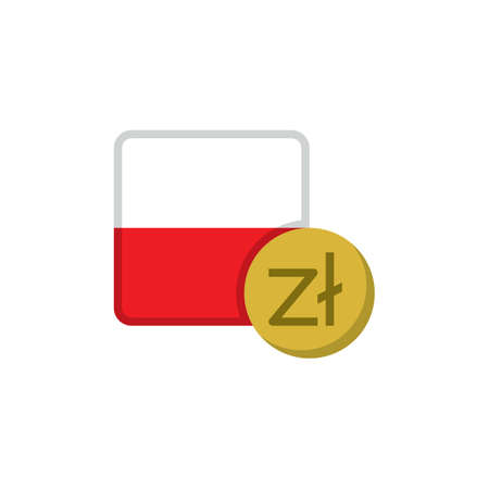Poland money and flag flat icon, vector sign, Zloty currency with flag colorful pictogram isolated on white. PLN money symbol, logo illustration. Flat style design