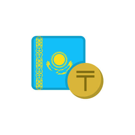 Kazakhstan money and flag flat icon, vector sign, Tenge currency with flag colorful pictogram isolated on white. KZT money symbol, logo illustration. Flat style design Illustration