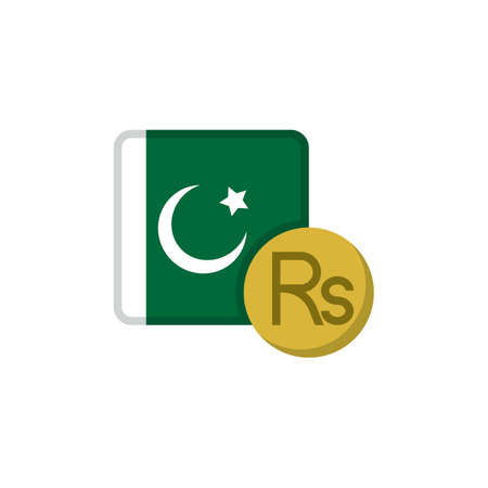 Pakistan money and flag flat icon, vector sign, Pakistani rupee currency with flag colorful pictogram isolated on white. PKR money symbol, logo illustration. Flat style design