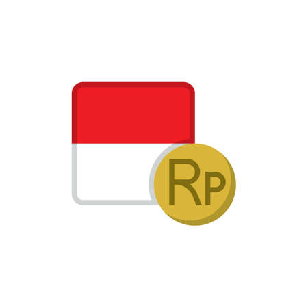 Indonesia money and flag flat icon, vector sign, Rupiah Currency with flag colorful pictogram isolated on white. IDR money symbol, logo illustration. Flat style design