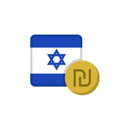 Israel money and flag flat icon, vector sign, Shekel currency with flag colorful pictogram isolated on white. ILS money symbol, logo illustration. Flat style design