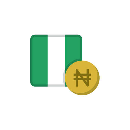 Nigerian money and flag flat icon, vector sign, Naira currency with flag colorful pictogram isolated on white. NGN money symbol, logo illustration. Flat style design
