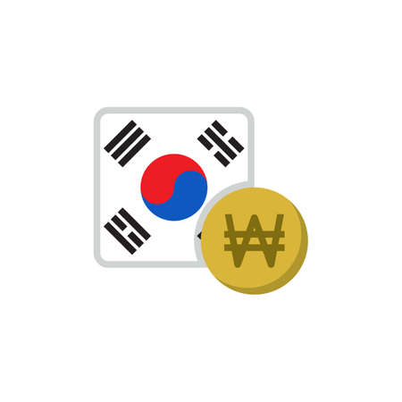 South Korea money and flag flat icon, vector sign, Won currency with flag colorful pictogram isolated on white. KOR money symbol, logo illustration. Flat style design