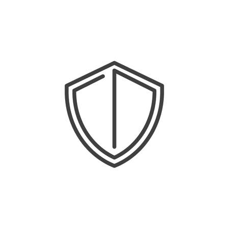 Protection shield line icon. linear style sign for mobile concept and web design. Security shield outline vector icon. Symbol, illustration. Vector graphics  イラスト・ベクター素材