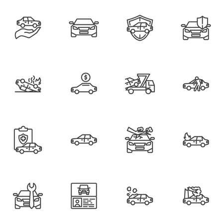 Auto insurance line icons set, car insurance outline vector symbol collection, linear style pictogram pack. Signs, logo illustration. Set includes icons as auto repair service, disaster, cash payment