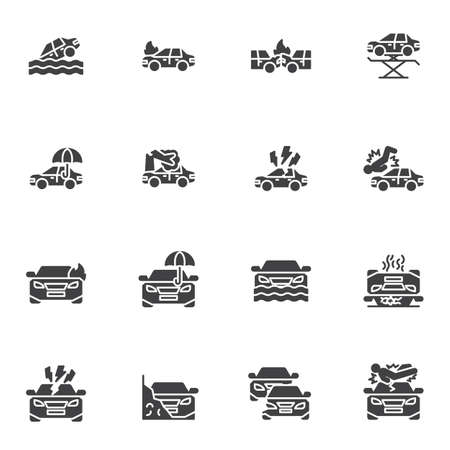 Car insurance vector icons set, auto insurance modern solid symbol collection, filled style pictogram pack. Signs, logo illustration. Set includes icons as car accident, bodily injury liability
