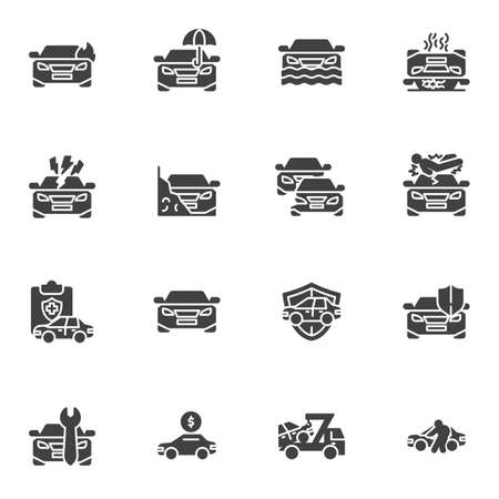 Car accident vector icons set, auto insurance modern solid symbol collection, filled style pictogram pack. Signs, logo illustration. Set includes icons as car insurance, auto policy, flood coverage  イラスト・ベクター素材