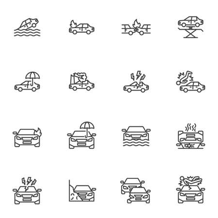 Car insurance line icons set, auto insurance outline vector symbol collection, linear style pictogram pack. Signs, logo illustration. Set includes icons as car accident, bodily injury liability