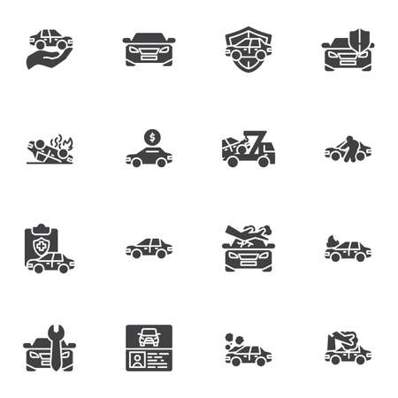 Auto insurance vector icons set, car insurance modern solid symbol collection, filled style pictogram pack. Signs, logo illustration. Set includes icons as auto repair service, disaster, cash payment