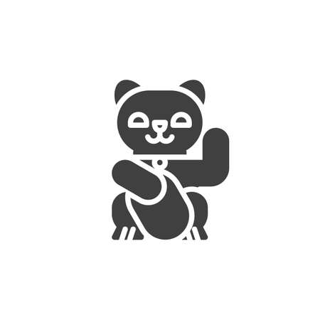 Japan lucky cat vector icon Vector Illustratie