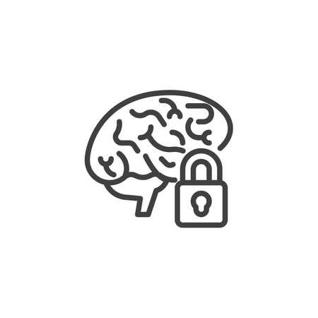 Brain lock line icon