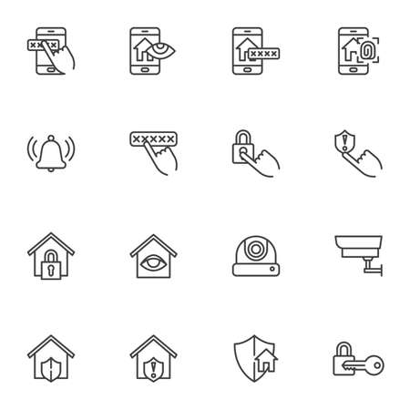 Smart home security line icons set