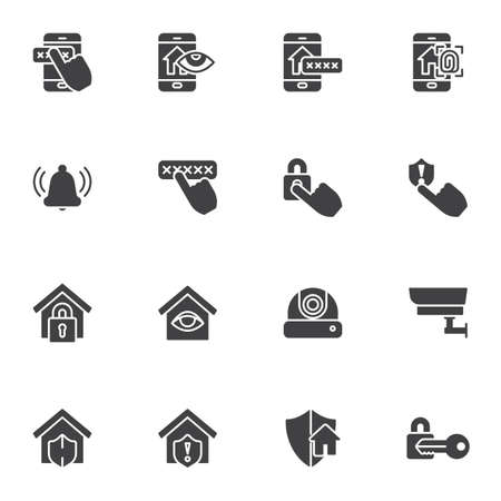 Smart home security vector icons set 向量圖像