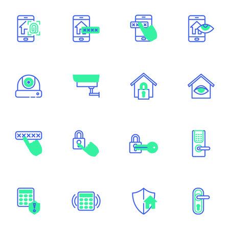 Smart home control system line icons set
