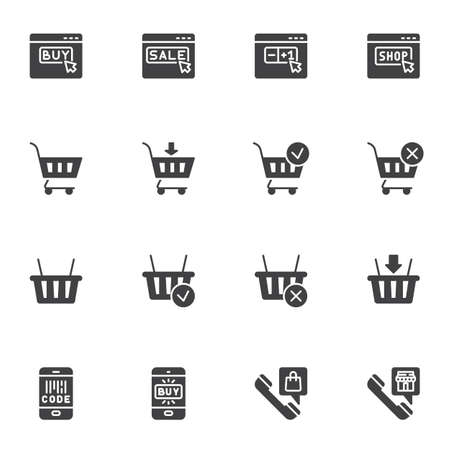 Online shopping vector icons set