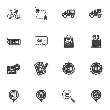 Online shopping delivery vector icons set