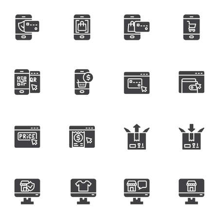 E-commerce and shopping vector icons set