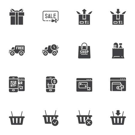 Shopping and E-commerce vector icons set 向量圖像