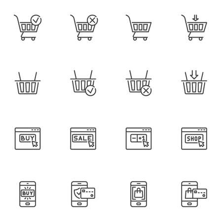 Online shopping line icons set