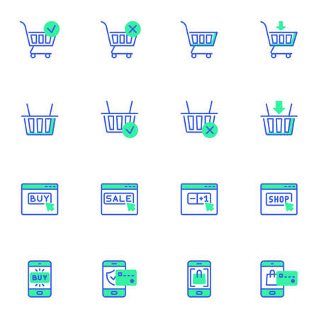 Shopping online line icons set