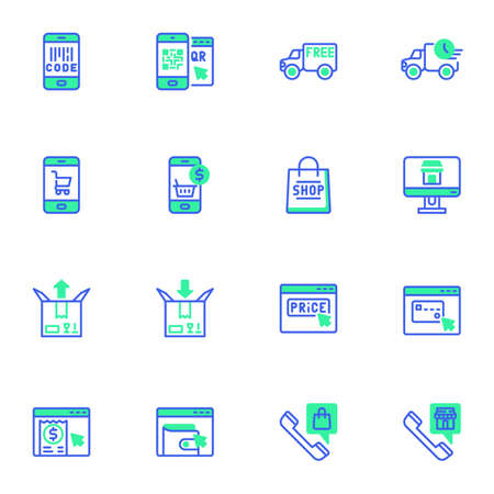 E-commerce and shopping line icons set 向量圖像