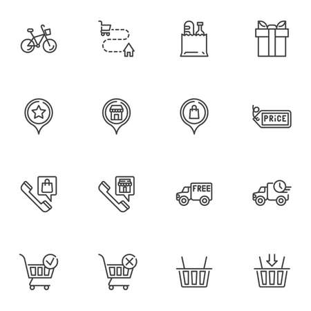 Online shopping delivery line icons set