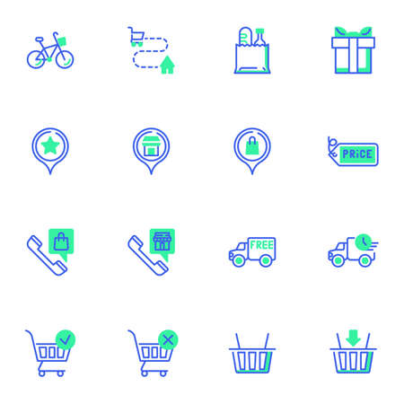 Shopping delivery service line icons set