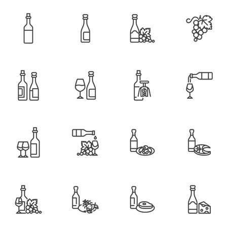 Wine menu line icons set, 向量圖像
