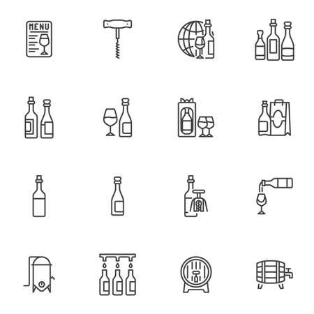 Winery wine line icons set 向量圖像