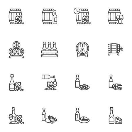 Wine snacks line icons set