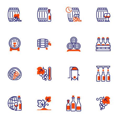 Wine making line icons set 向量圖像