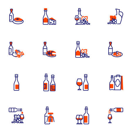 Wine and food line icons set