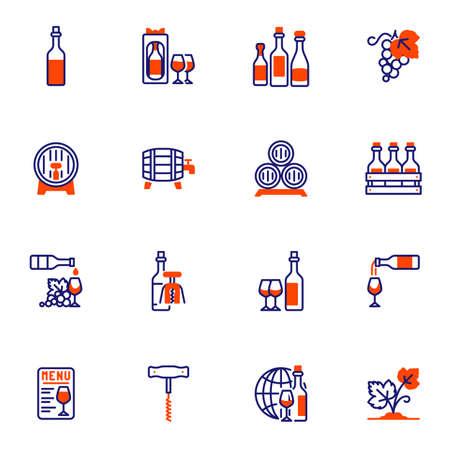 Wine production line icons set 向量圖像