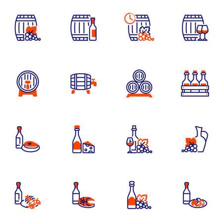 Wine beverages and food line icons set 向量圖像