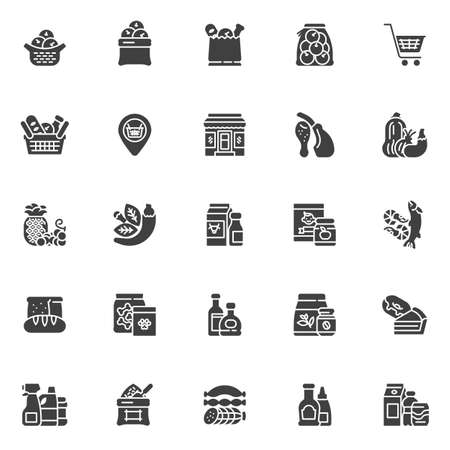 Grocery store departments vector icons set