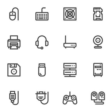 Computer components line icons set