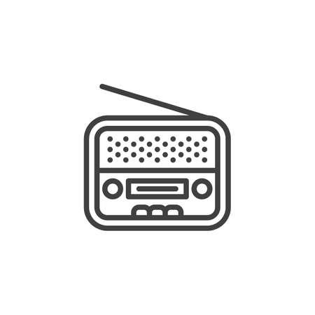 Retro radio line icon