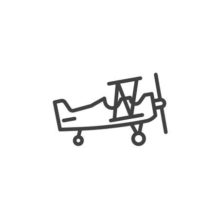 Retro airplane line icon
