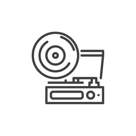 Retro phonograph line icon Ilustração