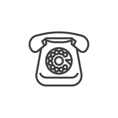 Retro rotary telephone line icon Ilustração