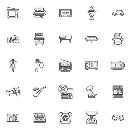 Retro items line icons set