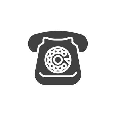 Retro rotary telephone vector icon