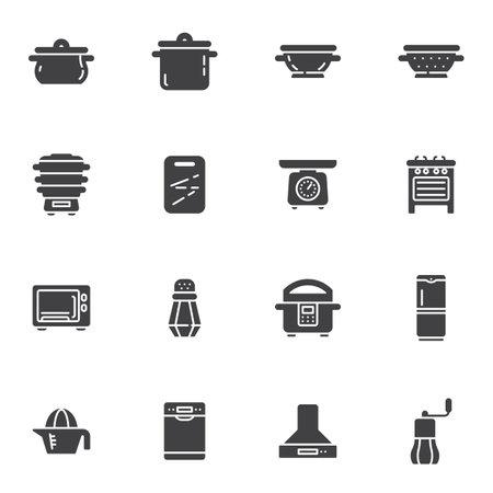 Kitchen appliances vector icons set
