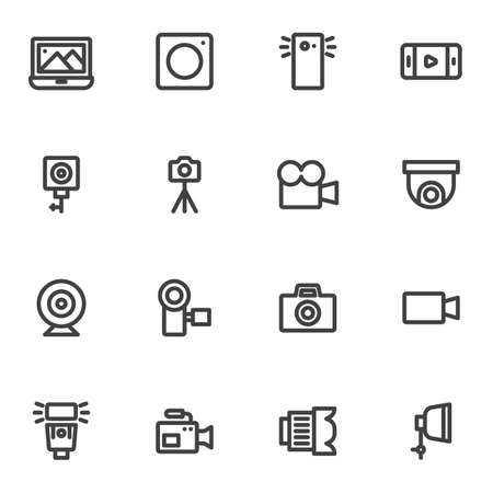 Photography and video line icons set