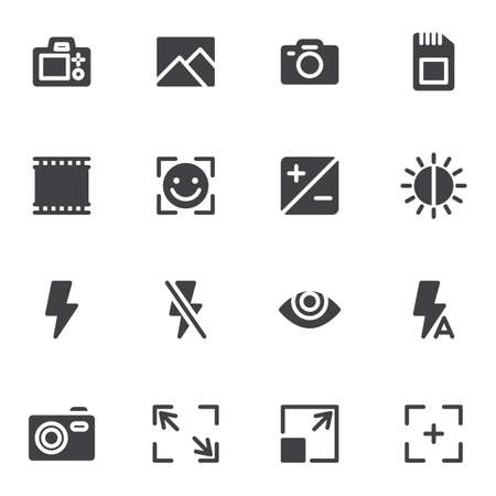 Camera settings vector icons set