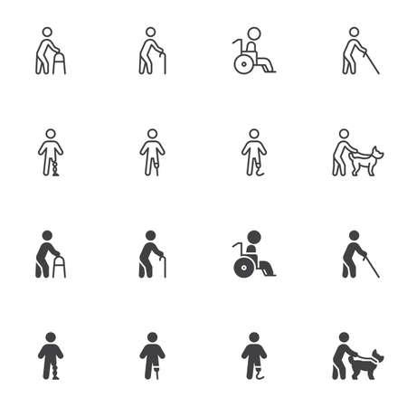Disabled people icon set Vecteurs